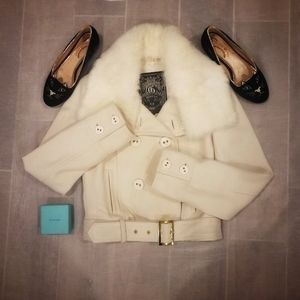 Guess 2 in 1 Wool Coat with Real Fur